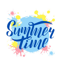 hand drawn lettering summer time logo vector image