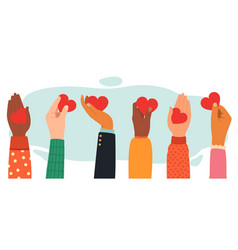 Hands charity concept give share love to people vector