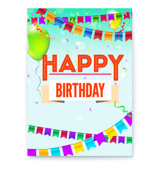 happy birthday greeting poster festive background vector image