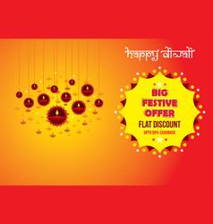 Happy diwali holiday festive offer poster design vector