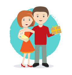 Happy young family with a baby and gift flat style vector