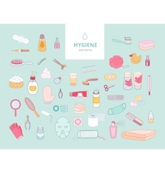 Hygiene elements on green background vector image