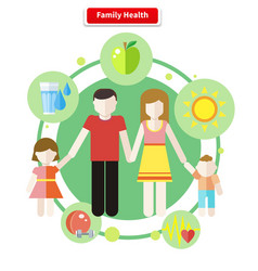 Icon Flat Style Concept Family Health vector