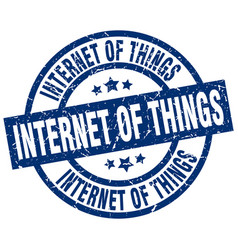 internet of things blue round grunge stamp vector image