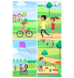 kids and adult spending time actively park poster vector image