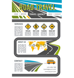 Landing page site for road travel company vector