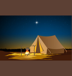 landscape camping tent at on mountain in su vector image