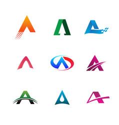 letter a logo collection set logo design concept vector image