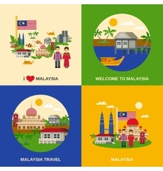 Malaysia Culture 4 Flat Icons Square vector image