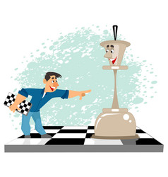 Man and a chess figure vector