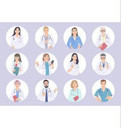 medical workers male and female characters avatar vector image