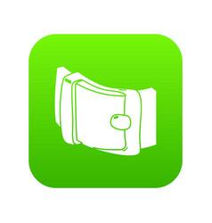 Men belt icon green vector