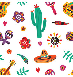 mexican seamless pattern with traditional mariachi vector image