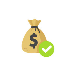 Money with approved checkmark icon flat vector
