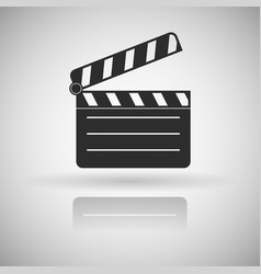 Movie motion clip black flat icon with shadow and vector