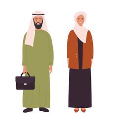 Muslim adult family or couple people arabian vector