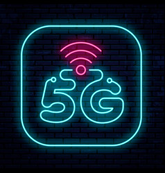 neon sign 5g network vector image