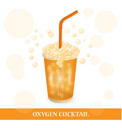 one oxygen cocktail for spa center glass with vector image