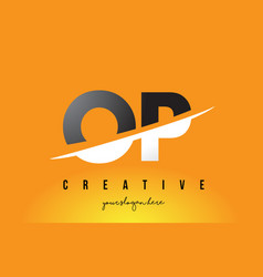 Op o p letter modern logo design with yellow vector