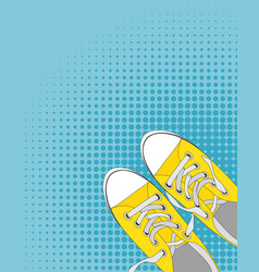 pair of shoes on color background in pop art style vector image