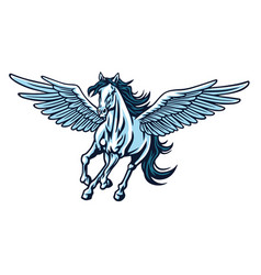 pegasus flying horse majestic cartoon logo vector image