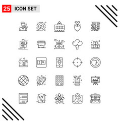 Pictogram set 25 simple lines beared vector