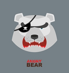 Polar Bear head Angry bear logo Hockey emblem vector image