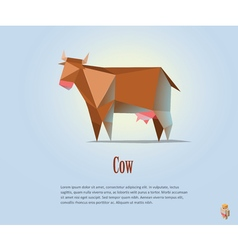 Polygonal of red cow with milk vector