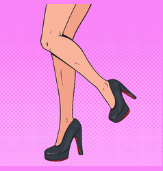 Pop art perfect female legs wearing high heels vector