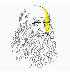 Portrait of Leonardo da Vinci vector
