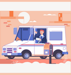postman delivering letters to mailbox of recipient vector image
