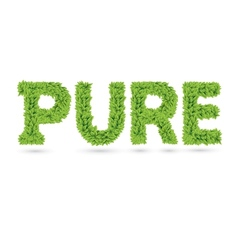 Pure text of green leaves vector