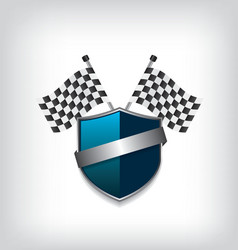 Racing flags and blue shield vector image