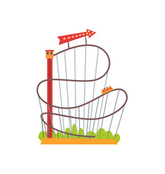 roller coaster with railroad track and train based vector image