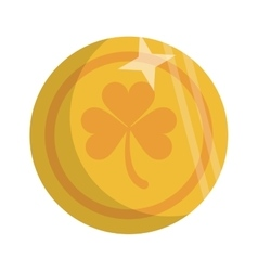 saint patrick day golden coin shamrock icon vector image