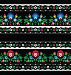 Seamless Polish folk art pattern with flowers vector