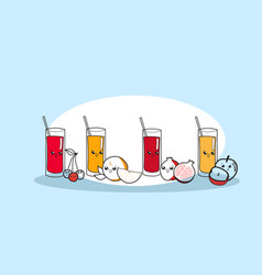 set different juice glasses with ripe fruits vector image