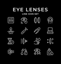 set line icons contact lenses vector image