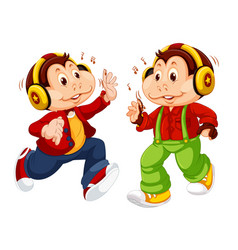 Set monkey wearing headphone vector