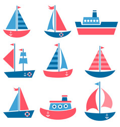 Set of boat icons vector