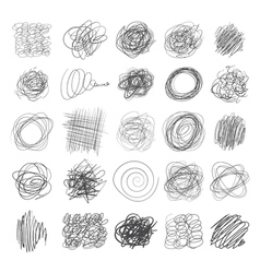 Set of ink lines of hand drawn textures scribbles vector image