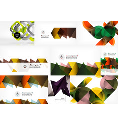 set of paper style geometric abstract backgrounds vector image
