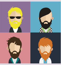 Set people avatars with backgrounds vector