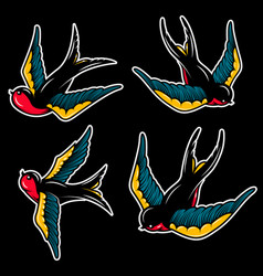 Set swallow in old school tattoo style vector