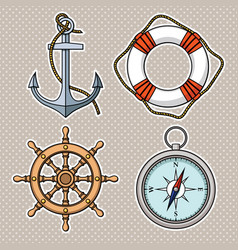 Set with isolated anchor lifebuoy ships wheel vector