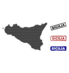 Sicilia island map in halftone dot style with vector
