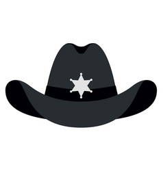 silhouette sheriff hat icon isolated object vector image