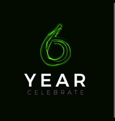 Six years celebrate poster for party 6 years sign vector