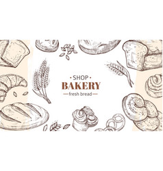sketch bakery background bread fresh buns and vector image