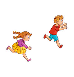 sketch running ranaway kids set vector image